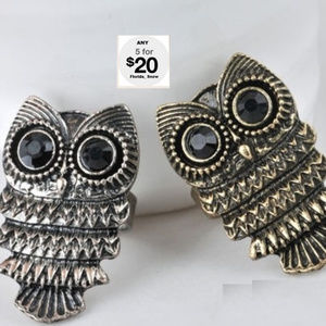 Jewelry - Owl Ring - Antique Silver - Onyx Eyes